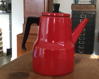 A Mid Century Red Enamel Stove Top Coffee Pot