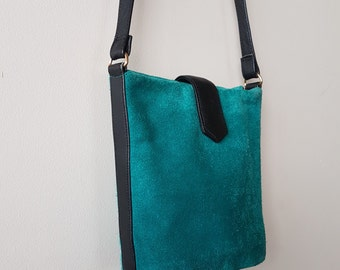 Gorgeous Turquoise Suede Leather Cross Body Bag