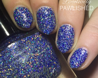 Blitzen by Positively Pawlished- Blue and silver holographic 10ml nail polish