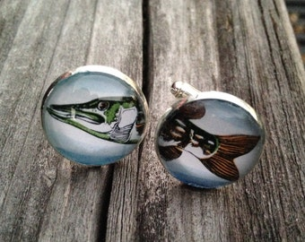 Fish Silver Cufflinks, Gift for Fisherman, Fish, Silver, Postage Stamp Jewelry, Gift for Him, Fish Jewelry, Groom, Best man, Fishing