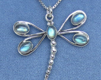 Rainbow Moonstone Dragonfly Necklace - Sterling Silver - P191006 - Free Shipping