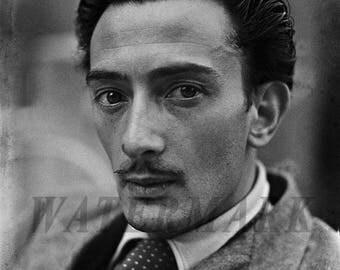 Salvador Dali,  Salvador Dali photograph, Dali black and white photo print, boho vintage, Wall Art - Decor - 8x10 - 11x14 - 16x20 -TS000398
