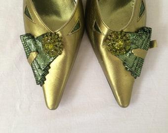"""Vintage """"Olindo Zeno"""" Green SlingBack Pointed Shoes"""