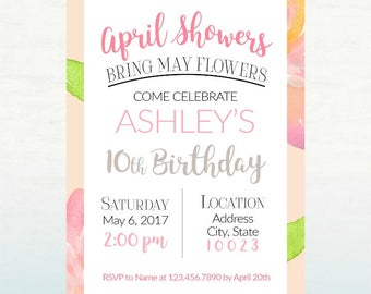 April Showers Bring May Flowers Invitation, PRINTABLE Invitation, Birthday or Baby Shower, 5x7 DIGITAL FILE