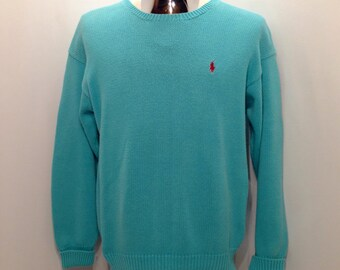 Classic 90s Turquoise RALPH LAUREN Sweater / Vintage Ralph Lauren Aqua Knit Sweater Men's Size Medium