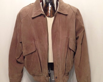 Vintage LEVI'S Authentic Western Wear Leather Bomber Jacket / Levi Strauss & Co  Insulated Genuine LEATHER Navaho Flannel Lining Mens Size M