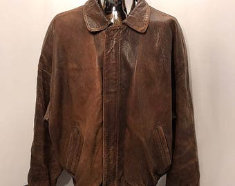 90s Luis Alvear BRASS RAIL Leather Bomber Jacket / Vintage Distressed 100% Genuine Leather Broken In Heavy Duty Leather Jacket Mens Size XL