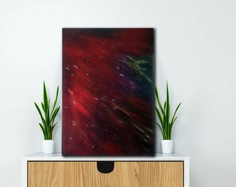 Art,Abstract art,space painting, Abstract red  black painting,Colorfull art,Contemporary abstract art,Abstract handmade art,Space wall art