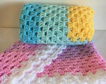 Crochet rainbow Blanket, New born gift, Baby Shower Gift , unicorn afghan, baby afghan, rainbow afghan, Rainbow baby gift, reborn doll