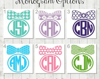 Bow Monogram Decal, Bow Decal, Framed Monogram Decal, Vinyl Decal, Laptop Decal
