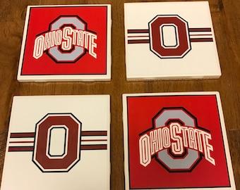 Handmade Ohio State Coasters