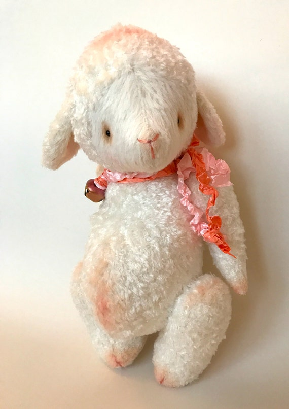 Handmade OOAK artist lamb, sheep, teddy bear Little Lamb. Handmade, ready to ship, collectible, viscose.