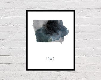 Iowa Map Print, Printable Iowa State Map, Iowa Art Print, Iowa Printable Wall Art, Watercolor Map, Iowa Poster, Office Art, Digital Download