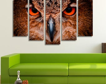 LARGE XL Great Horned Owl Canvas Print Photography at World Bird Sanctuary St Louis Canvas Wall Art Print Home Decoration - Stretched
