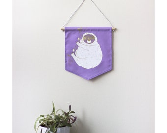 Wall banner 2 colors - happy lazy - purple fabric