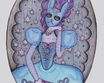 Blue Bunny Masquerade Girl Rococo Starry Print   Planner Divider Dashboard Insert