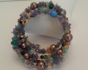 Wrap around bracelet with tanzanite and czech glass beads ref b10
