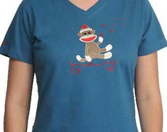 Sock Monkey Shirt, cute women's shirts, cute sock monkey t-shirt, cute women's t-shirts, cute women's shirts, bling heart shirt, cute monkey