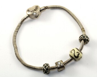 Vintage MA Michael Anthony 4 Four Charms Memories Bracelet Sterling Silver BR 124