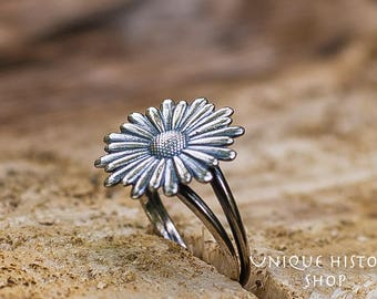 Sunflower Ring Handcrafted Sterling Silver Unique Jewelry