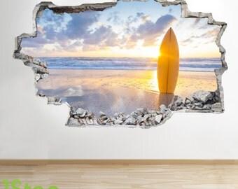 Surfing Sunset Wall Sticker 3d Look - Ocean Sea Paradise Beach Bedroom Lounge Z83