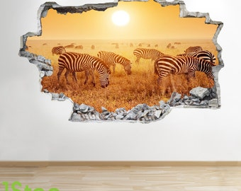 Zebra Wall Sticker 3d Look - Bedroom Lounge Sunset Tiger Nature Wall Decal Z133