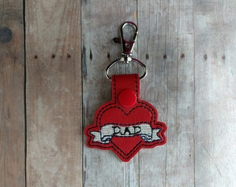 Dad Key Chain, Tattoo Style, Red Vinyl With Embroidery, Choice of Key Ring or Swivel Clip With Snap, Fathers Day Gift