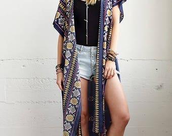 Navy Blue Floral Kimono Vest