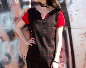 Red and Black Plaid School Girl Dress