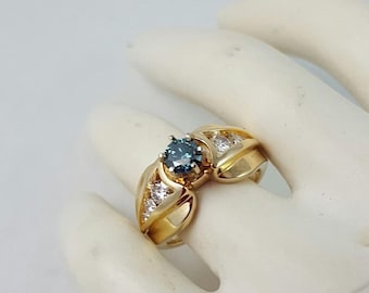 14K Yellow Gold Blue Diamond Ring  Size 6.5 Outstanding Quality