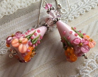 Flower Lampwork Earrings, Pastel Floral Earrings, Cone Earrings, Lampwork Jewelry, Valentines Day Gift, Mothers Day, Gift For Her