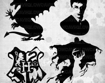 Hogwarts Silhouettes svg file, Harry Potter Clip art, Harry Potter svg, INSTANT DOWNLOAD - svg, png, dxf, eps, jpg