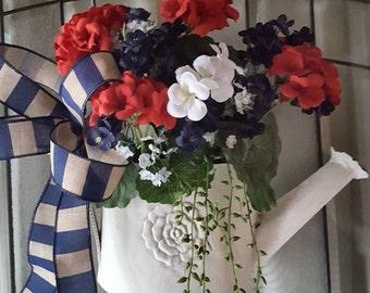 Summer wreath, memorial day wreath 4th july door hanger, french country,patrotic arrangement  patrotic  wreath, ,fourth july wreath,