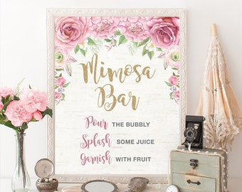 Pink and Gold Floral MIMOSA BAR Printable Sign. Pink Roses Bridal Shower Sign. Chic Wedding Shower Decoration. Photo Booth Decor. RO1