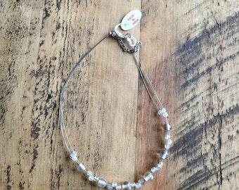 White Beaded boho style necklace