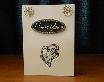 Black and white I love you greeting card
