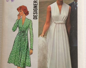 Vintage 1970's Simplicity sewing pattern 6672 - Misse's dress in two lengths - size 16