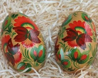 Set two eggs Easter eggs Pysanky eggs Wooden eggs Easter decor Hand painting eggs Petrykivka eggs Easter gift Best friend gift