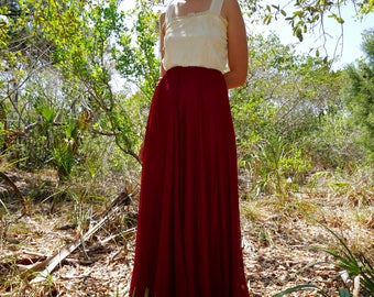 70's Ivory Maroon Sheer Lace Gown Dress / XS / S / M