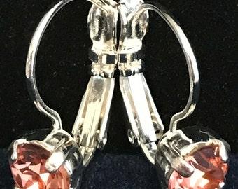 Rose/Peach Swarovski Crystal Lever Back Earrings