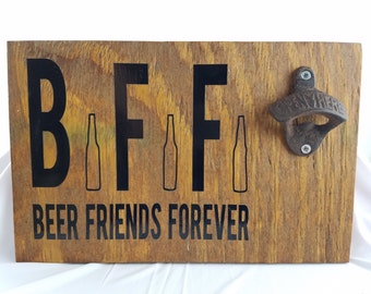Wall beer opener / Handmade- Qoute-Caveman Men's -Craft *Customize* Bottle *Wall Mounted