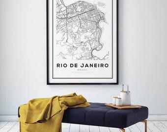 Rio De Janeiro City Map, Brazil Map Print, City Map, Map Art, Brazil Map Poster, Rio De Janeiro Map Poster, Black and White Map, Wall Art