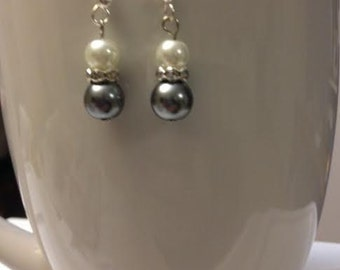 Hannah, Silver Blue and White Pearls with Rinestone Accent