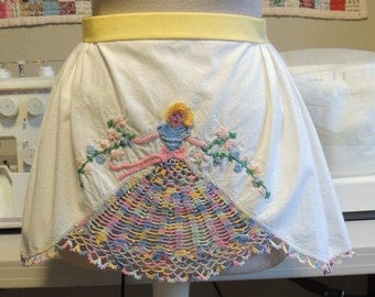 Vintage embroidered and crocheted child's apron