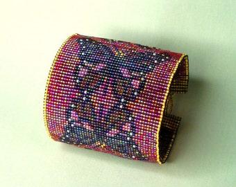 Miyuki Delica Glass Bead-Woven Cuff *Butterflies*