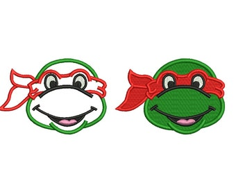 Ninja Turtle Applique - Ninja Mutant design 2 designs applique + complete stitch embroidery designs