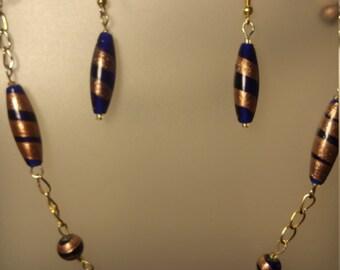 Royal blue, gold necklace/earrnig set