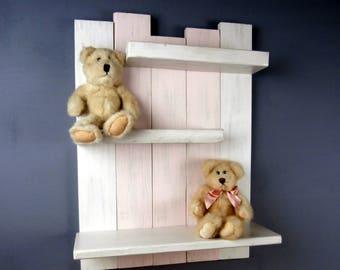 Nursery Shelves – Pink and White Shelves – Nursery Wall Shelf in Pink – Reclaimed Wood Nursery Shelf – Baby Girl Nursery Shelf–Open Shelving