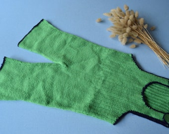 Vintage 70's / baby / overalls / knitting done hand / green with blue border