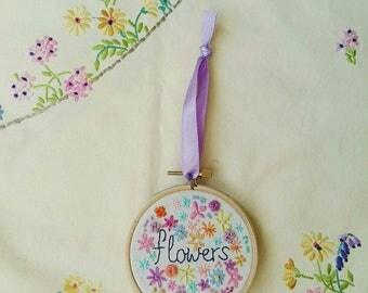 Flowers Hoop Art   Hand Embroidery   Modern Embroidery   Flower Embroidery   Summer   Wall Art   Wall Hanging   Home Decor    